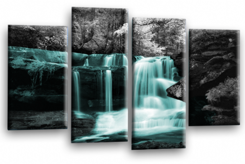 Autumn Forest Waterfall Canvas Wall Art Teal Grey Picture Print